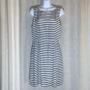 J CREW 100% SILK BLUE&WHITE STRIPE DRESS NAUTICAL
